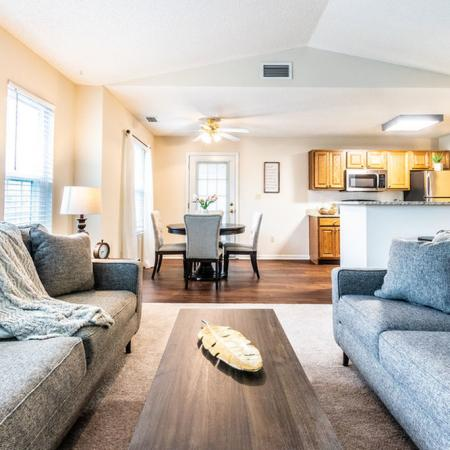 Carpet in the Living Room and Wood-Style Plank Flooring in the Dining/Kitchen Area | Buffalo NY Apartmens | Windsong Place