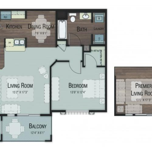 1 bedroom 1 bathroom Aspen floor plan