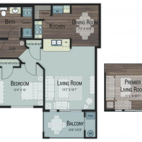 1 bedroom 1 bathroom Ash Premier floor plan