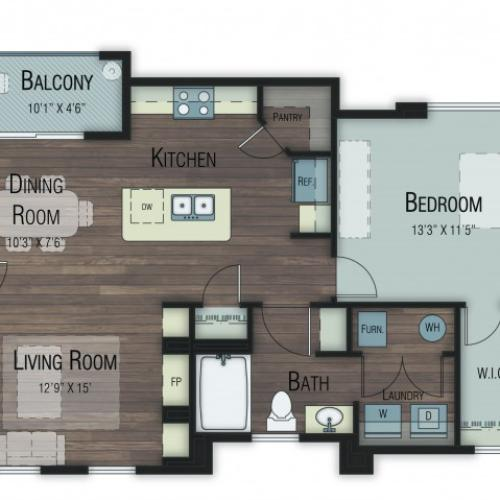 1 bedroom 1 bathroom Alder floor plan