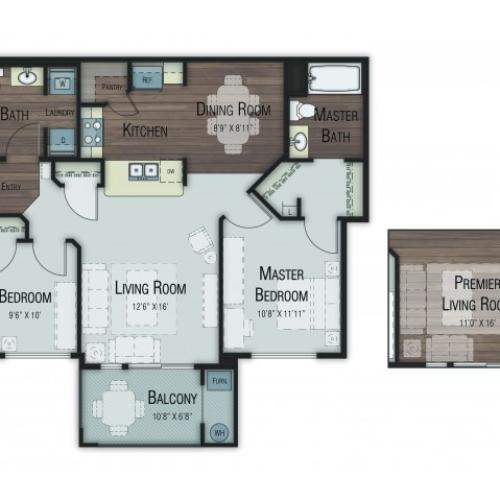 2 bedroom 2 bathroom Birch floor plan