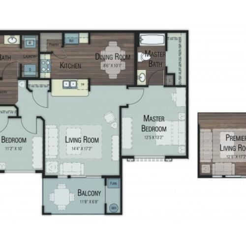 2 bedroom 2 bathroom Balsam Accessible floor plan