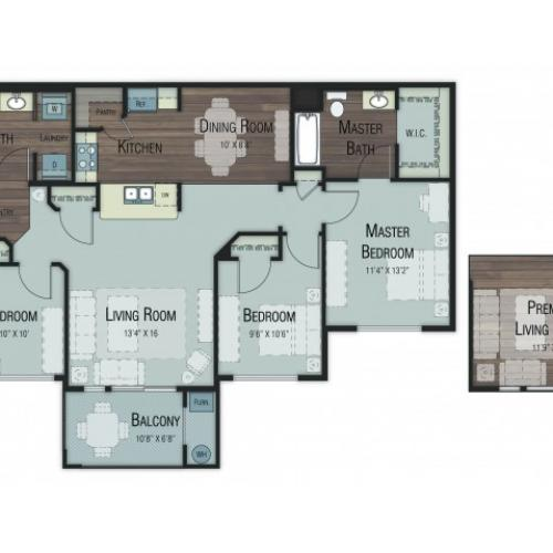 3 bedroom 2 bathroom Cedar Premier floor plan