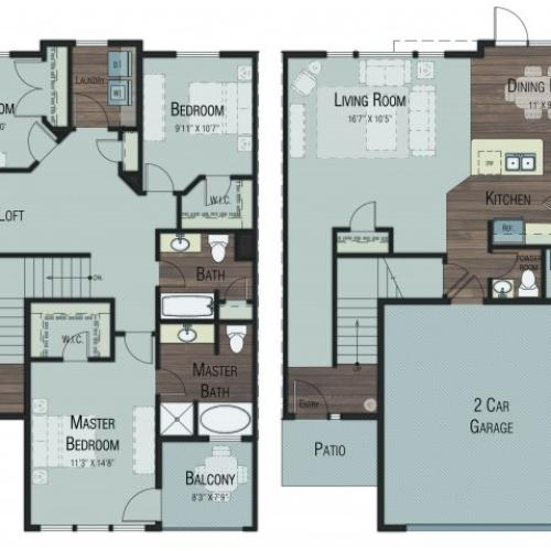 3 bedroom 2.5 bathroom Cottonwood Select floor plan