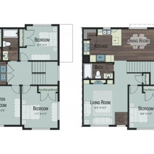 4 bedroom 3 bathroom Dogwood Premier floor plan