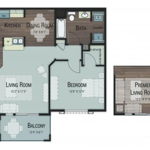 1 bedroom 1 bathroom Aspen Select floor plan