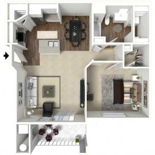 1 Bed 1 Bath Arches Floor Plan