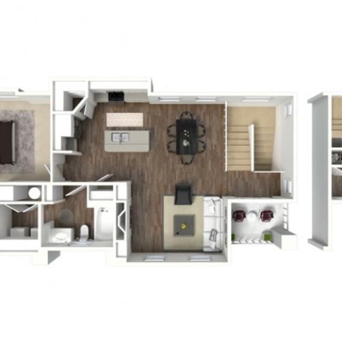 1 bedroom 1 bathroom Anasazi floor plan