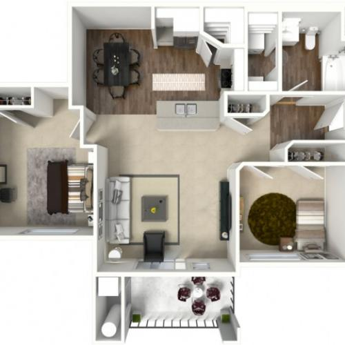 2 Bed 1 Bath Bluff Floor Plan