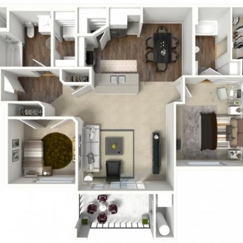 2 bed 2 bath Barbaroux Premier floor plan
