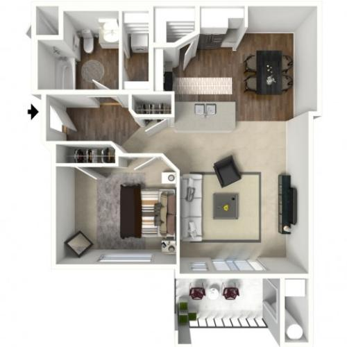 1 bedroom 1 bathroom Altair Premier floor plan