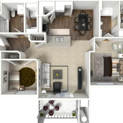 2 bedroom 2 bathroom Brigadier floor plan