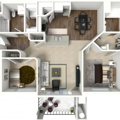 2 bedroom 2 bathroom Barbaro floor plan