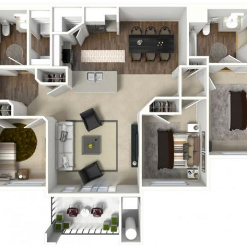 3 bedroom 2 bathroom Citation floor plan