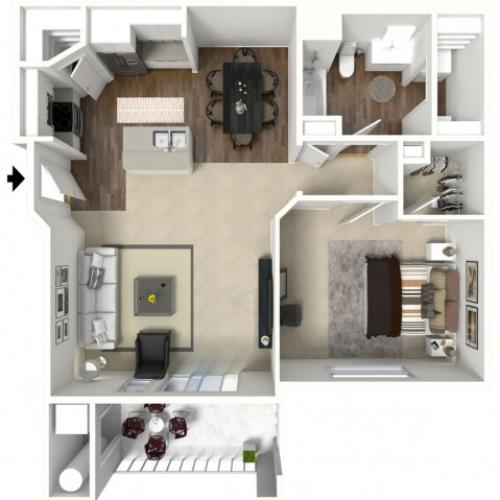 1 bedroom 1 bathroom Ashby Premier floor plan