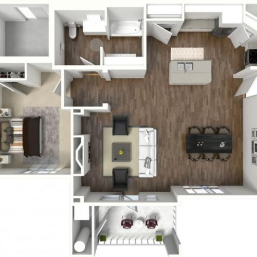 1 bedroom 1 bathroom Adington Select ADA 2 floor plan
