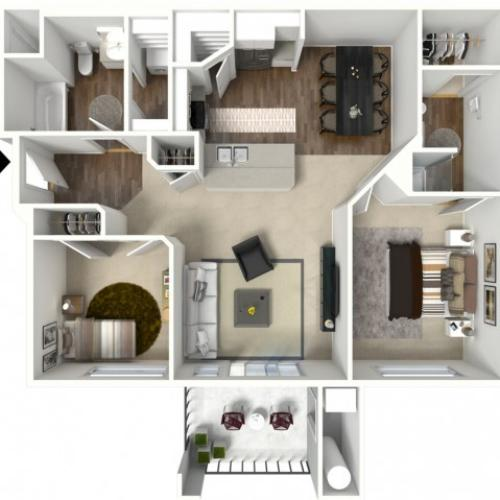 2 bedroom 2 bathroom Belfast floor plan