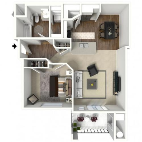 1 bedroom 1 bathroom Albany Premier Floor Plan