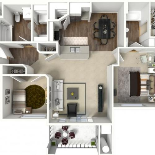 2 bedroom 2 bathroom Bridgeport Premier floor plan
