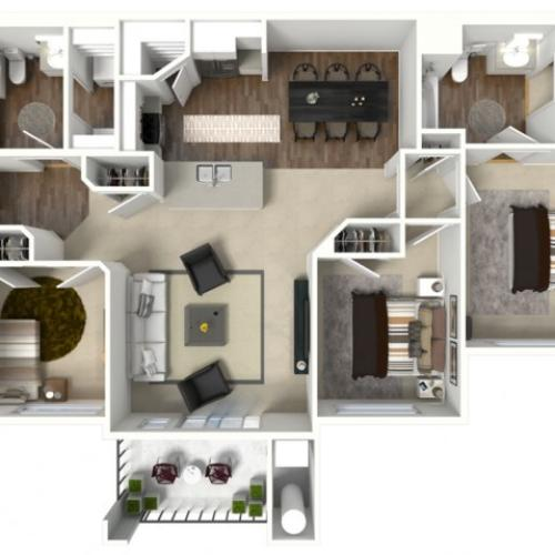 3 bedroom 2 bathroom Charleston Premier floor plan