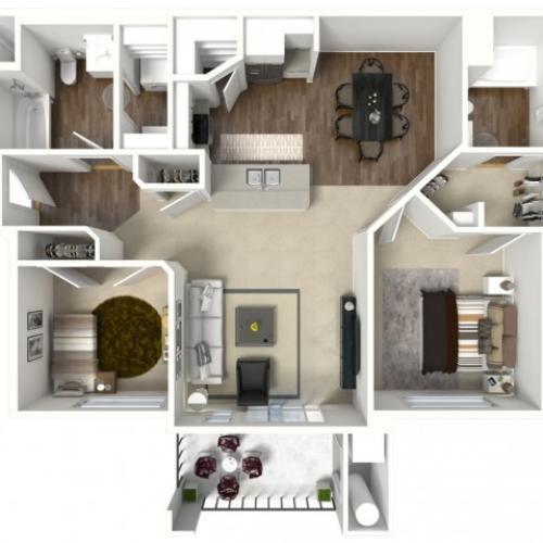 2 bedroom 2 bathroom Barbaro Premier floor plan