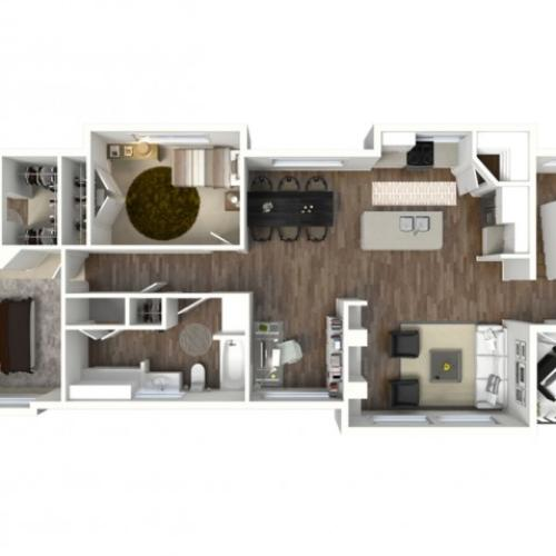 2 Bed 2 Bath Bloomington Floor Plan