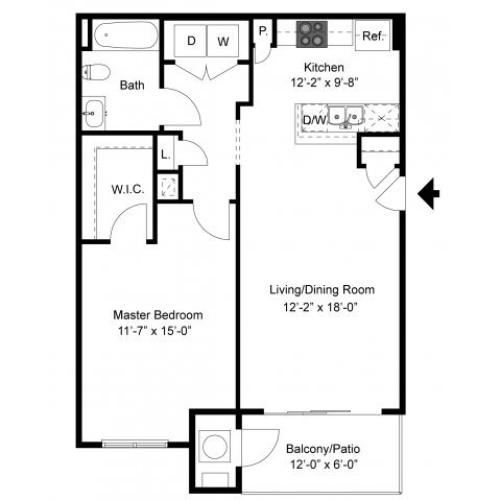1 Bedroom Floor Plan | Palmer View