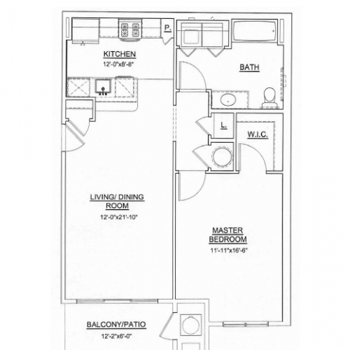 1 Bedroom Floor Plan | Apartments For Rent In Ewing NJ | Heritage Court