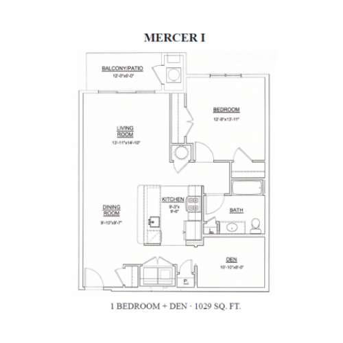 1 Bdrm Floor Plan | Apartments In Ewing Township NJ | Heritage Court
