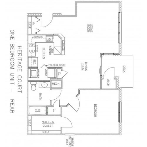 1 Bedroom Floor Plan | Apartments In Ewing NJ For Rent | Heritage Court