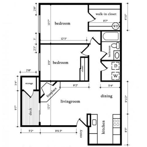 Two bedroom One Bath - Cedar | 2 bed 1 bath | from 850 square feet