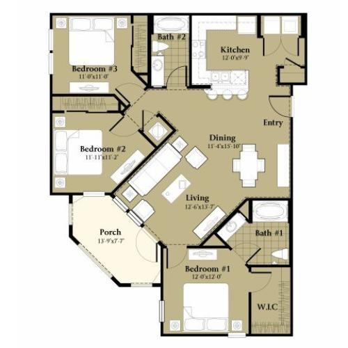 3 Bedroom Floor Plan | Orlando Apartments | Sanctuary at Eagle Creek
