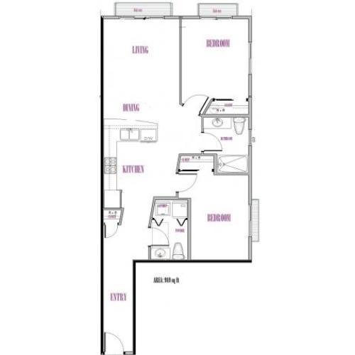 Baker | 2 bed 2 bath | from 989 square feet