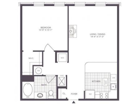 B | 1 bed 1 bath | from 761 square feet