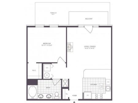 G | 1 bed 1 bath | from 779 square feet