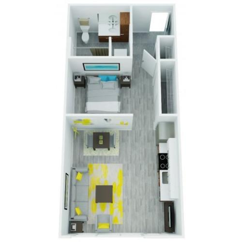 One Bedroom Floor Plan 2 | The Addy