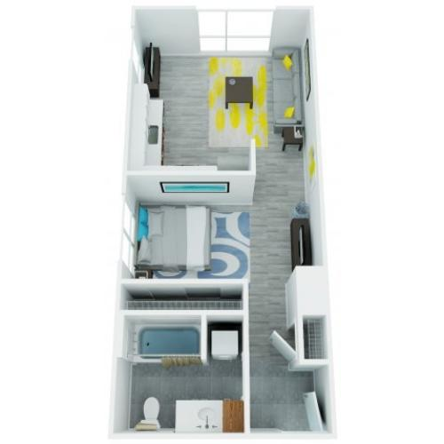 One Bedroom Floor Plan 4 | The Addy