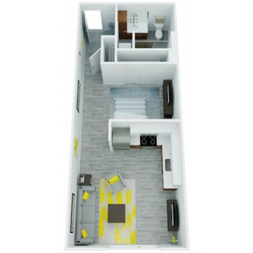 One Bedroom Floor Plan | The Addy