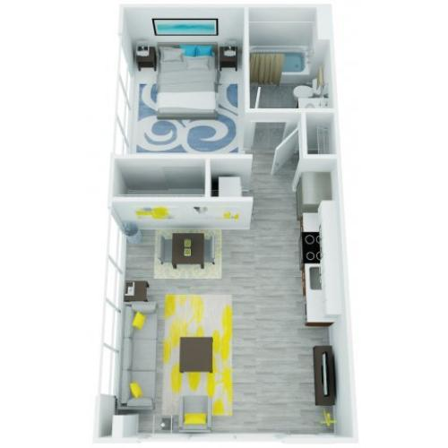 One Bedroom Floor Plan 6 | The Addy