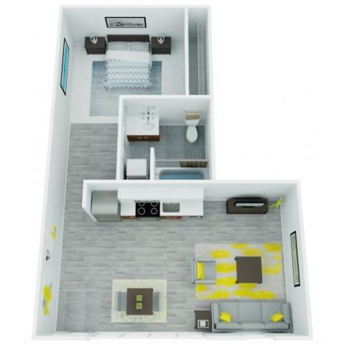 One Bedroom Floor Plan 8 | The Addy