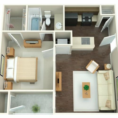 1 Bedroom Floor Plan | Riverbend 2