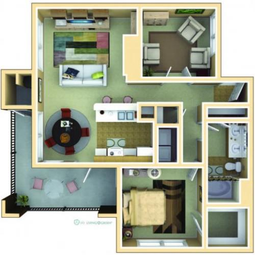 1 Bedroom Floor Plan | Avila at Rancho Santa Margarita 6