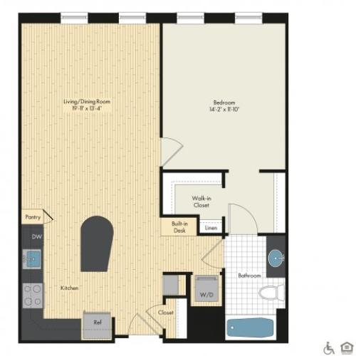 Floor Plan 4 | Bethesda Luxury Apartments | Upstairs at Bethesda Row