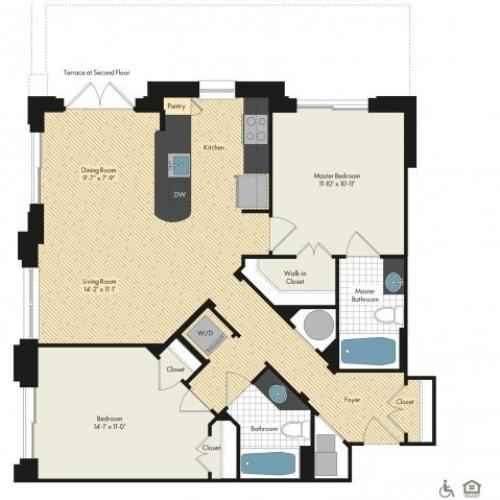 Floor Plan 38 | Luxury Apartments In Bethesda MD | Upstairs at Bethesda Row