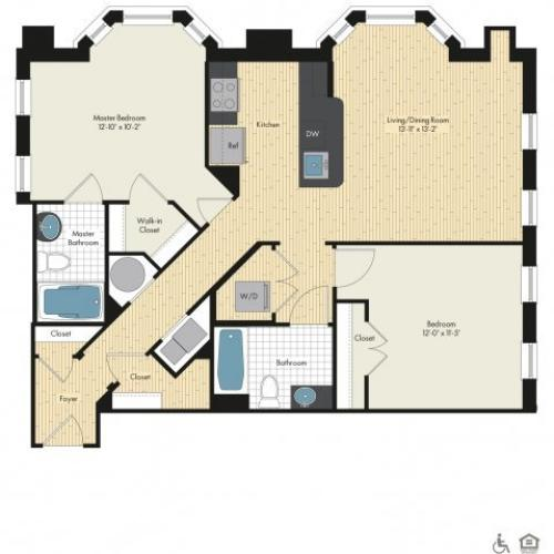 Floor Plan 39 | Bethesda Luxury Apartments | Upstairs at Bethesda Row