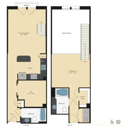 Floor Plan 11 | Luxury Apartments In Bethesda Maryland | Upstairs at Bethesda Row