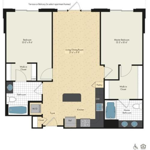 Floor Plan 40 | Luxury Apartments In Bethesda | Upstairs at Bethesda Row