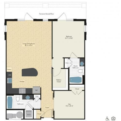 Floor Plan 5 | Luxury Apartments In Bethesda | Upstairs at Bethesda Row