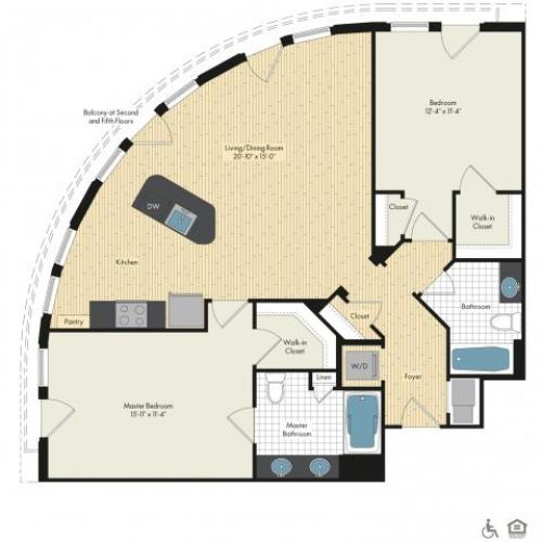 Floor Plan 41 | Luxury Apartments In Bethesda Maryland | Upstairs at Bethesda Row