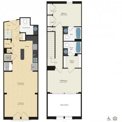 Floor Plan 42 | Apartments For Rent In Bethesda Maryland | Upstairs at Bethesda Row